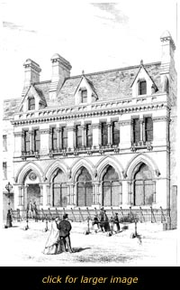 Architecural drawings of the new bank building of 1866