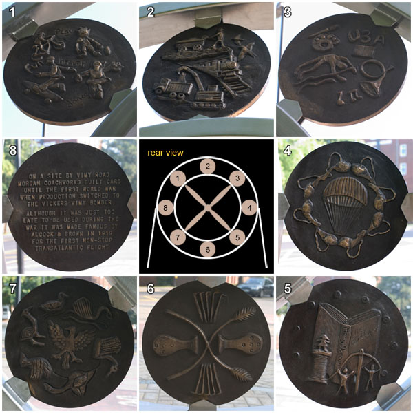 Close up of the designs on the rear of the 'Fly Past' Monument, Leighton Buzzard
